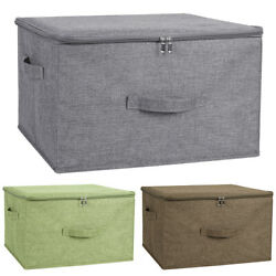 Foldable Storage Bin Cube Boxes with Zipper Lids Linen Fabric Container Basket $17.99