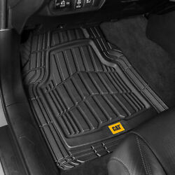 CAT® 4pc All Weather Car Floor Mats Liners Set Black Tough Rubber Deep Channel $34.90