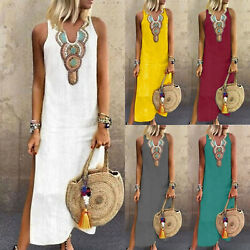 Plus Size Women Boho Casual Kaftan Maxi Dress Summer Beach Sleeveless Sundress $19.94