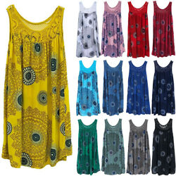 Women Boho Floral Sleeveless Vest Loose Short Dress Summer Beach Tunic Sundress $11.11