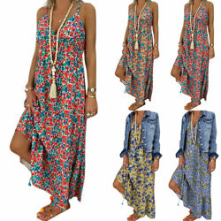 Women Summer Strappy Boho Floral Maxi Dress Holiday Casual Loose Beach Sundress $13.77