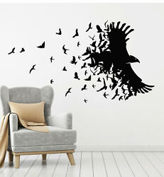 Vinyl Wall Decal Black Raven Birds Flying Patterns Room Home Stickers g3082 $21.99