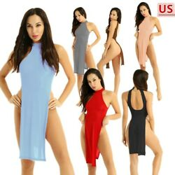Womens Sexy Lingerie High Slit Legs Cheongsam Nightgown Dress for Party Clubwear $11.95