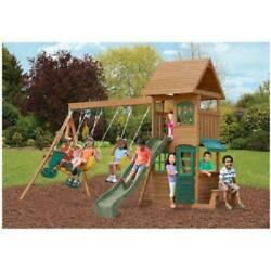 New Backyard Swing Set Cedar Wooden Outdoor Playground Playset Kids Playhouse $1,198.99