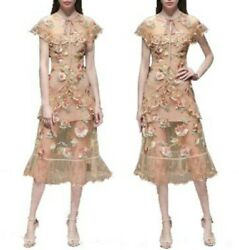 Occident Women Embroidery Ruffle Short Sleeve Slim Lace Dresses Cocktail Party L $72.24