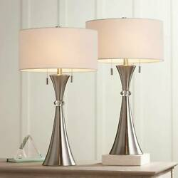 Modern Table Lamps Set of 2 Concave Column Hourglass Metal Living Room Bedroom $119.99