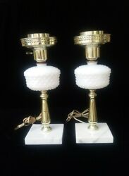 Vintage Pair Lamps Marble Base Hobnail Milk Glass amp; Brass Electric 14quot; Tall $24.95