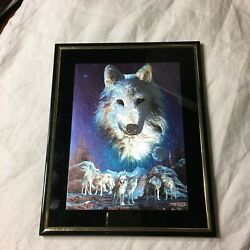 Framed Art Print Wolf Pack Metallic Foil Tone Night Moon Deco 8quot; x 10quot; $10.00