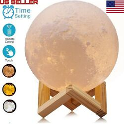 3D Printing Moon Lamp USB LED Night Lunar Light Touch And Remote Color Changing $25.98