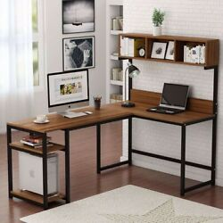 L-Shaped Office Desk with Storage Shelves-Color Walnut-BRAND NEW $200.00