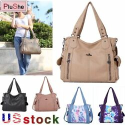 ANGLEKISS Brand Womens Soft Leather Shoulder Bag Solid Large Tote Hand Bag Purse $28.99