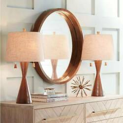 Mid Century Modern Table Lamps Set of 2 Brown Wood for Living Room Bedroom $119.90