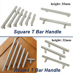 Stainless Steel T Bar Handle SquareRound Kitchen Cabinet Pull Brushed Nickel  $3.99