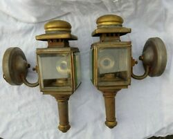 ANTIQUE PAIR VICTORIAN BRASS PLATED STEEL CANDLE CARRIAGE COACH LAMPS CONVERTED $225.00
