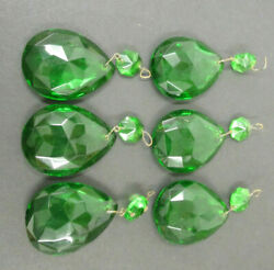 6 LOT FACETED GREEN PRISMS WITH GREEN BEAD CHANDELIER TOTAL DROP 2 3 4quot; $39.95