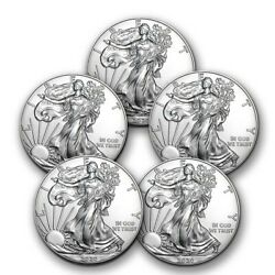 2020 1 oz American Silver Eagle BU Lot of 5 Coins $1 US Mint Silver $154.55