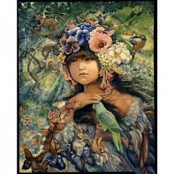 Josephine Wall Princess of the Amazon Tile Fairy Girl with Parrots Flowers new $39.99