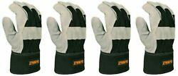 DeWALT Work Gloves Leather Palm Heavy Duty Size Large DPG41 2 Pair $9.99