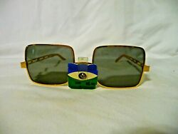 1960's NOS COOL-RAY Polarized Square Gold Tone Frame Sunglasses wORG. TAG $28.00