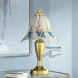 Traditional Accent Table Lamp Brass Touch On Blue Floral for Living Room Bedroom $34.99