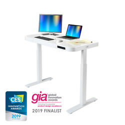AIRLIFT HEIGHT ADJUSTABLE ELECTRIC DESK WITH GLASS TOP DUAL USB CHARGER $369.99