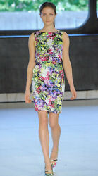 ERDEM RUNWAY HOSHIE NAGOYA FLORAL SILK SATIN TWIN LAYER SLEEVELESS DRESS US 10