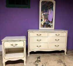 Beautiful White 6 Drawer Dresser with Mirror and matching night stand $350.00