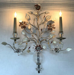 Vintage French Maison Bagues PAIR Crystal Silver Gilt Iron Urn Wall Sconces $3200.00