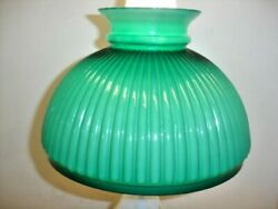 ANTIQUE CASED GLASS GREEN COLOR FURLED LAMP SHADE STUDENT OR OIL STYLE. $200.00