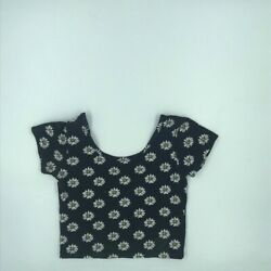 Fifth Sun Girls Crop Top T shirt Black White Daisies Stretch Short Sleeve XS $7.73