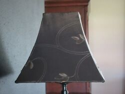 Brown Fabric Lamp Shades Square Set of 2 Home Decor Lighting Lamp $24.99