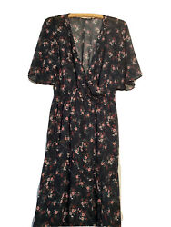 FREE SHIPPING NEW Women's ZARA Long Floral Print Bohemian Dress Size S $23.50