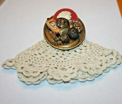 Pin w Collage of Items and attached Crochet piece Preowned Old Fashion Look $12.00