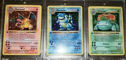 1st Edition Shadowless Charizard Blastoise & Venusaur *REPLICAS* HAND-MADE ART
