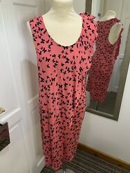 OASIS Pink Black Butterfly Size M Faux Wrap Over Summer Dress Beach $5.00