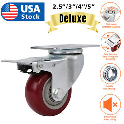 US 3quot; 4quot; 5quot; Caster Wheels Swivel Plate Total Lock Brake On Red Polyurethane $26.98