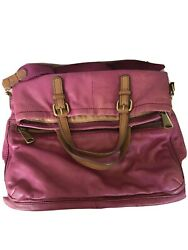 Fossil Purple Leather Foldover Hobo Shoulder Bagpurse Messenger Tote zipper $14.99