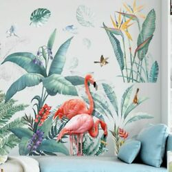 Creative Flamingo Birds Wall Stickers Large Tree Leaves Wall Art Decals Murals $20.99