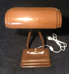 VTG Mid Cent Bankers Lamp Table or Desk Lamp 2 Pillar Light $39.95