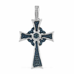 Sterling 925 Silver Plated Blue Diamond Cross Pendant Graduation Gifts for Her $15.38