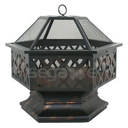 Hex Shaped Fire Pit Fireplace Firepit Bronze Finish Adjust the Atmosphere Garden