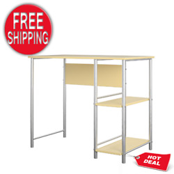 Student Metal Computer Desk Home Office Working Study Table Open Shelves NEW $60.18