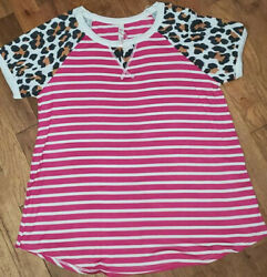 Ladies sz M Boutique Shirt Red Lolly pink stripe with leopard $6.20