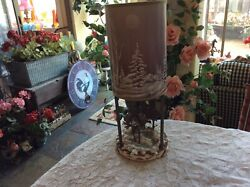 Westland Table Lamp Moose In Forest With Pine Trees Winter Scene With Shade $69.95