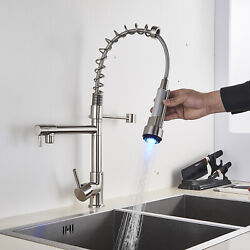LED Kitchen Sink Faucet Pull Down Sprayer Swivel Mixer Tap Spring with Cover