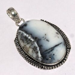 DENDRITIC OPAL 925 SILVER PLATED  PENDANT 2.1