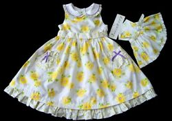 NEW Girl#x27;s Yellow White Floral Easter Fancy Party Dress Matching Doll Dress $29.99