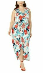 NEW Love Squared Women#x27;s Plus Faux Wrap Floral Print Ruffled Maxi Dress Size 1X $14.99
