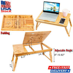 Bamboo Folding Foldable Lap Tray Bed Adjustable Table Stand Portable Laptop Desk $31.80