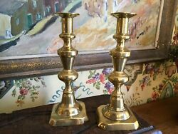 English Antique Brass Candleholders Pair Early 1900s 10 in $145.00